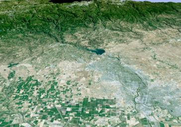 Perspective View with Landsat Overlay, Sacramento, Calif.