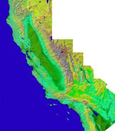 The diversity of landforms that make up the state of California is evident in this new [sic] rendition of the 3-D topography of the state.