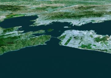 The cities of San Francisco and the East Bay are highlighted in this computer-generated perspective viewed from west of the Golden Gate.