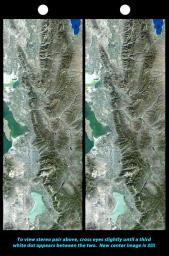 The 2002 Winter Olympics are hosted by Salt Lake City, Utah at several venues within the city, in nearby cities, and within the adjacent Wasatch Mountains. This image is from NASA's Shuttle Radar Topography Mission.