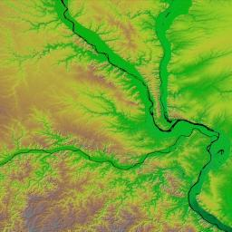 The confluence of the Mississippi, Missouri and Illinois rivers are shown in this view of the St. Louis area from NASA's Shuttle Radar Topography Mission.