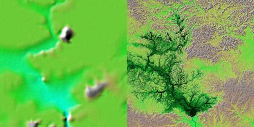 These two images show exactly the same area, Lake Balbina near Manaus, Brazil. The image on the left was created using the best global topographic data set previously available, the U.S. Geological Survey's GTOPO30.