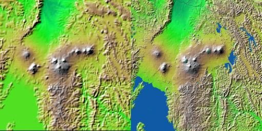 Volcanic, tectonic, erosional and sedimentary landforms are all evident in this comparison of two elevation models of a region along the East African Rift at Lake Kivu. The area shown covers parts of Congo, Rwanda and Uganda.