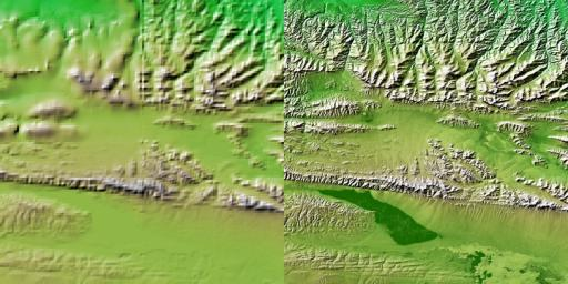 These two images show exactly the same area, part of the Kunlun fault in northern Tibet. The image on the left was created using the best global topographic data set previously available, the U.S. Geological Survey's GTOPO30.