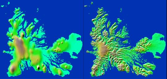 These two images show exactly the same area, Kerguelen Island in the southern Indian Ocean. The image on the left was created using the best global topographic data set previously available, the U.S. Geological Survey's GTOPO30.