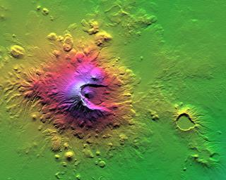 Shaded Relief with Height as Color, Mount Meru, Tanzania