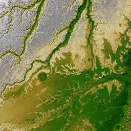 Shaded Relief with Height as Color, Iturralde Structure, Bolivia