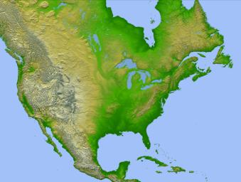 This image of North America was generated with data from NASA's Shuttle Radar Topography Mission.