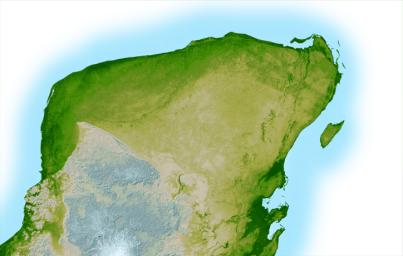 This shaded relief image of Mexico's Yucatan Peninsula show a subtle, but unmistakable, indication of the Chicxulub impact crater. Most scientists now agree that this impact was the cause of the Cretatious-Tertiary Extinction.