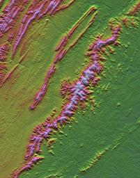 Shenandoah National Park, Virginia, Shaded Relief with Height as Color