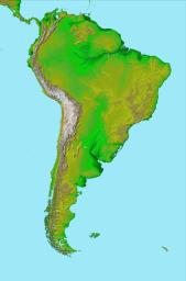 This image of South America was generated with data from NASA's Shuttle Radar Topography Mission.