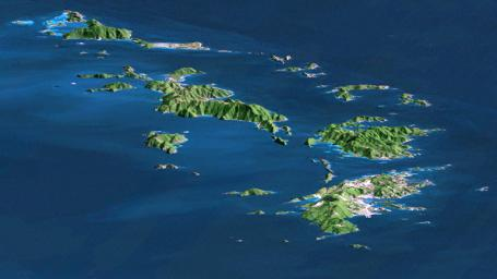SRTM Perspective with Landsat Virgin Islands, Carribean