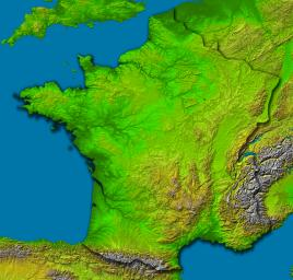 France, Shaded Relief and Colored Height