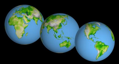 World Globes, Shaded Relief and Colored Height