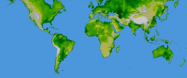 This image of the world was generated with data from NASA's Shuttle Radar Topography Mission.
