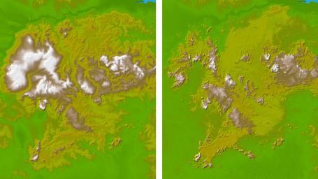 These two images show the area in South America, the Guiana Highlands straddling the borders of Venezuela, Guyana and Brazil as seen by NASA's Shuttle Radar Topography Mission.