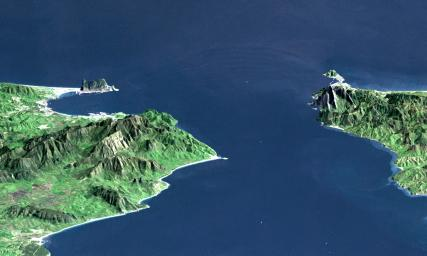 Strait of Gibraltar, Perspective with Landsat Image Overlay