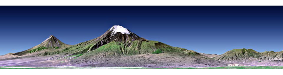 This perspective view shows Mount Ararat in easternmost Turkey, which has been the site of several searches for the remains of Noah's Ark as seen by NASA's Shuttle Radar Topography Mission.