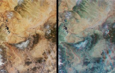 Northern Arizona and the Grand Canyon are captured in this pair of images from December 31, 2000 as seen by NASA's Terra satellite (Terra orbit 5525).