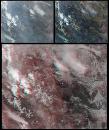 Several mountain ranges and a portion of the Amur River are visible in this set of stereo images of Russia's far east Khabarovsk region taken by the MISR instrument aboard NASA's Terra spacecraft. 3D glasses are necessary to view this image.