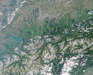 Lake Constance, bordered by Switzerland, Germany, and Austria. This image from NASA's Terra satellite is MISR Mystery Image Quiz #2.