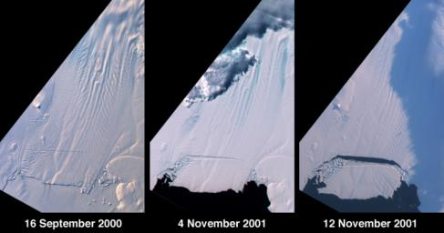 A large tabular iceberg (42 kilometers x 17 kilometers) broke off Pine Island Glacier, West Antarctica (75� S latitude, 102� W longitude) sometime between November 4 and 12, 2001, as seen by NASA's Terra satellite.