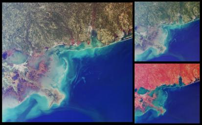 This set of images from NASA's Terra satellit highlights coastal areas of four states along the Gulf of Mexico: Louisiana, Mississippi, Alabama and part of the Florida panhandle. The images were acquired on October 15, 2001 (Terra orbit 9718).