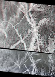 These images, taken by the MISR instrument aboard NASA's Terra spacecraft , are centered over the Pacific Ocean, about 1600 kilometers west of San Francisco. 3D glasses are necessary to view this image.