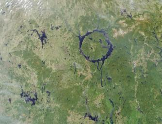 Lake Manicouagan in northern Quebec, Canada, as seen by NASA's Terra satellite on June 1, 2001, during Terra orbit 7737.