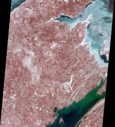 Decked out in reds, greens, blues and whites, this image captured by NASA's Terra satellite March 8, 2001 highlights the Canadian province of New Brunswick.