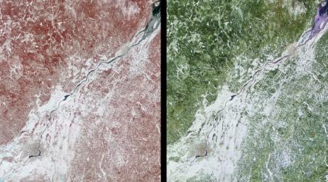 These images of Canada's Québec province were acquired by NASA's Terra satelliteon March 4, 2001.The region's forests are a mixture of coniferous and hardwood trees, and 'sugar-shack' festivities are held at this time of year to celebrate the beginning o