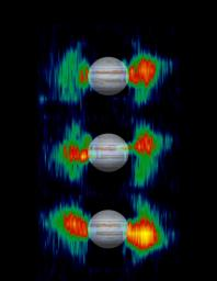 Details in radiation belts close to Jupiter are mapped from measurements that NASA's Cassini spacecraft made of radio emission from high-energy electrons moving at nearly the speed of light within the belts.