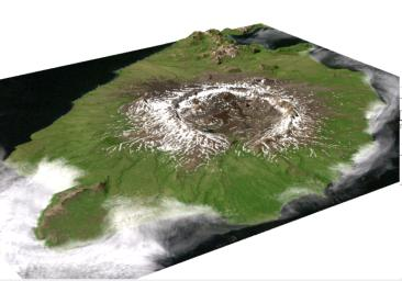 Perspective View of Umnak Island, Aleutian Islands, Alaska (#2)
