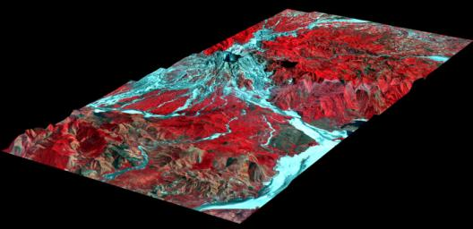 This perspective view, acquired by NASA's Airborne Synthetic Aperture Radar (AIRSAR), shows the effects of the June 15, 1991, eruption of Mt. Pinatubo.