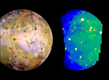 Nine previously unknown volcanoes have been discovered from this infrared image of Jupiter's moon Io, acquired by NASA's Galileo spacecraft on Oct. 16, 2001.