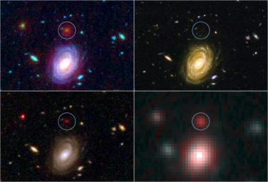 This image demonstrates how data from two of NASA's Great Observatories, the Spitzer and Hubble Space Telescopes, are used to identify one of the most distant galaxies ever seen. This galaxy is named named HUDF-JD2.