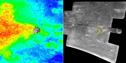 NASA's Cassini spacecraft carried the European Space Agency's Huygens probe to Saturn and released it in December 2004. The magenta cross in both images shows the best estimate of the actual Huygens landing site.