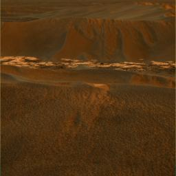 These images were acquired by NASA's Mars Exploration Rover Opportunity in 2005. The view looks towards the east, covering a large wind-blown ripple called 'Scylla' other nearby ripples and patches of brighter rock strewn with dark cobbles.