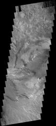 The layered and wind eroded deposits occur on the  floor of Chandor Chasma