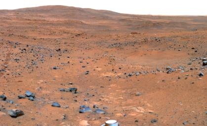 This view from Spirit's panoramic camera is assembled from frames acquired on Nov. 23 and 24, 2005 from the rover's position near an outcrop called 'Seminole.' The marscape shows an abundance of rocks upon red soil.