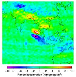 This figure shows the effect of the December 2004 great Sumatra earthquake on the Earth�s gravity field as observed by NASA's GRACE.