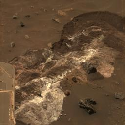 NASA's Mars Exploration Rover Spirit analyzed a remarkable exposure of bright, loose material on Jan 19, 2006. Spirit discovered the material while driving toward 'Home Plate' along the floor of the basin south of 'Husband Hill' in Gusev Crater.