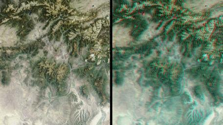 The mountains and desert plateaus of northwest Colorado are shown in this anaglyph from the MISR instrument aboard NASA's Terra spacecraft. 3D glasses are necessary to view this image.