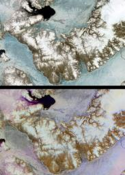 Devon Island is situated in an isolated part of Canada's Nunavut Territory, and is usually considered to be the largest uninhabited island in the world. These images were acquired by NASA's Terra satellite on June 28, 2001.