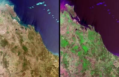 Queensland, Australia. This image, acquired on November 19, 2001 from NASA's Terra satellite, is MISR Mystery Image Quiz #11.