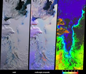 These views from NASA's Terra spacecraft illustrate ice surface textures and cloud-top heights over the Amery Ice Shelf/Lambert Glacier system in East Antarctica on October 25, 2002.