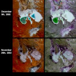 Lake Eyre is a large salt lake situated between two deserts in one of Australia's driest regions. These four images from NASA's Terra spacecraft austral summers of 2000 and 2002.