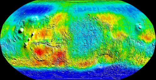 NASA Mars Odyssey observations are used in this global view of Mars in intermediate-energy, or epithermal, neutrons. Soil enriched by hydrogen is indicated by the deep blue colors on the map, which show a low intensity of epithermal neutrons.