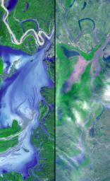 These images show dramatic change in the water at Dongting Lake in Hunan province, China between August and September of 2002. NASA's Terra satellite captured this image on September 2, 2002 and March 19, 2002.