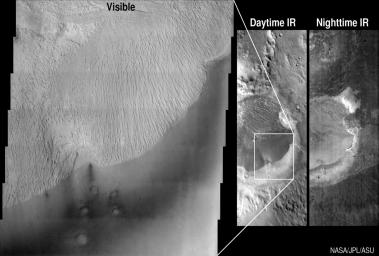 These images from NASA's Mars Odyssey spacecraft show the Becquerel crater in different lights -- visible, daytime infrared and nighttime infrared.